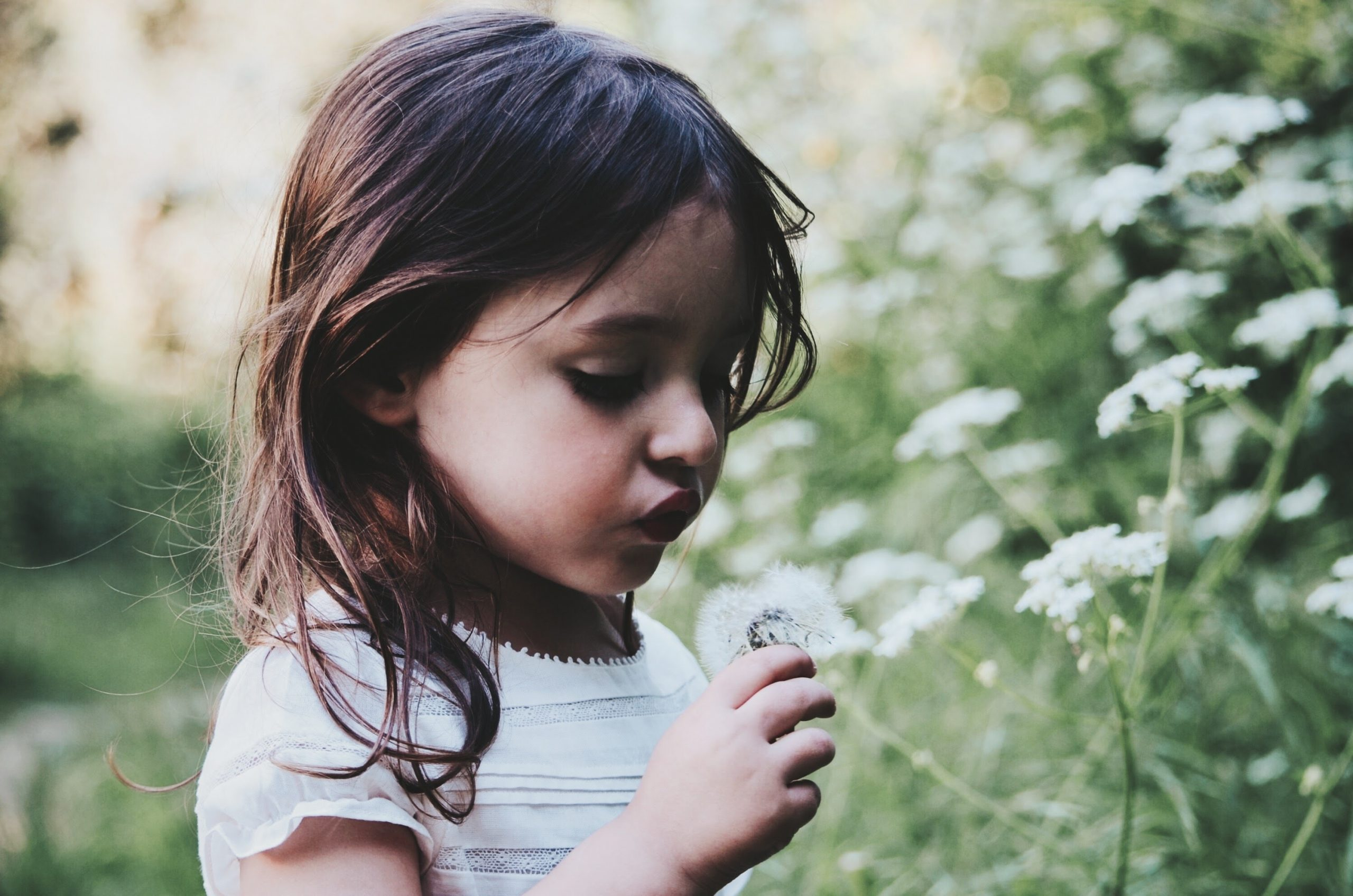 girl with autism looking at a flower in need of autism testing Thousand Oaks, ca with child psychologist