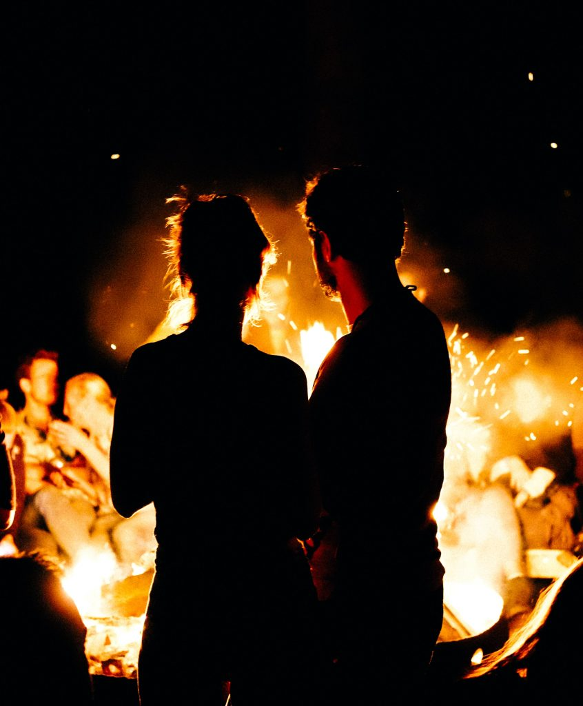 Couple looking at fire enjoying one another's company post couples therapy in Simi Valley, Ca