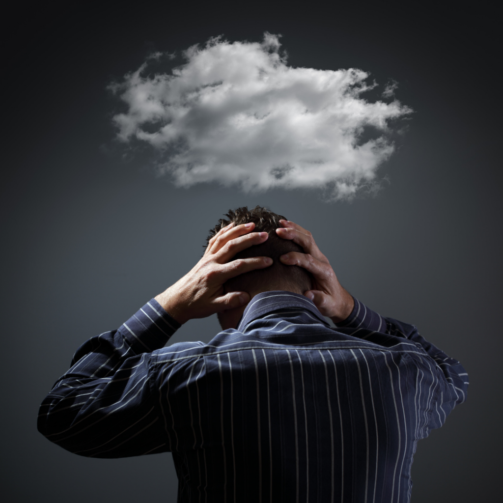 Man is feeling in anxiety cloud in need of anxiety therapy in Simi Valley, Ca