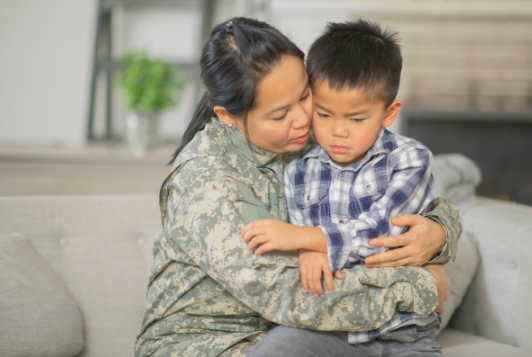 mom comforting upset son who is having behavioral problems, tantrums and needs child therapy in person near Simi Valley, ca, 93065