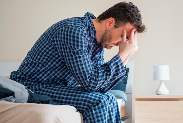 man struggling with anxiety can't seem to fall asleep and support from anxiety therapy in Simi Valley, ca, 93065